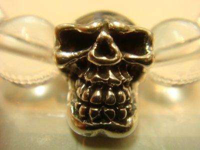 画像1: 京都・パワーストーン/Silver925髑髏(スカル)・本水晶8mm玉、魔除け・健康ブレスレット【天然石の京屋】