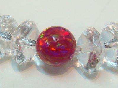 画像1: 京都オパール【唐紅色】(からくれないいろ)ボタンカット水晶、六芒星型ブレスレット、正規ルート品【パワーストーン京屋】