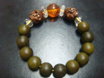画像1: 京都・パワーストーン/【鶴亀】彫刻アンバー(琥珀)、【髑髏】彫刻柘植(片目にパイライトイン)、みかん玉水晶、【天然石の京屋】