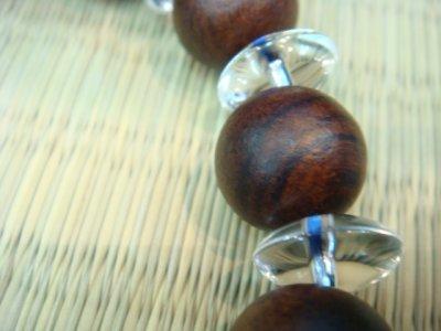 画像3: パワーストーン・京都【髑髏(スカル)水晶】16mm、【紫檀(したん)】高級天然木、ソロバン型水晶ブレスレット【天然石の京屋】