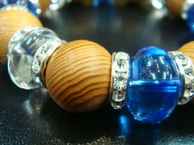 画像1: パワーストーン・京都/【本物】【屋久杉(世界自然遺産)】16mm玉、水晶、ロンデル、ブルークォーツブレスレット【天然石の京屋】