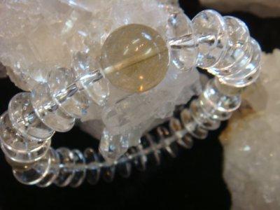 画像3: パワーストーン・京都/【レディース】14mm、ゴールドルチルクォーツ(金針水晶)、そろばん型本水晶ブレスレット【天然石の京屋】