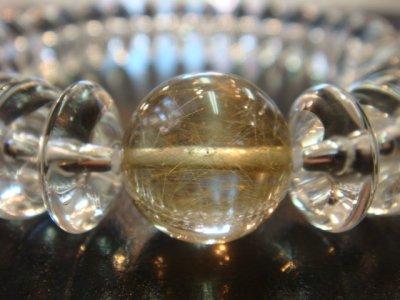 画像1: パワーストーン・京都/【レディース】14mm、ゴールドルチルクォーツ(金針水晶)、そろばん型本水晶ブレスレット【天然石の京屋】