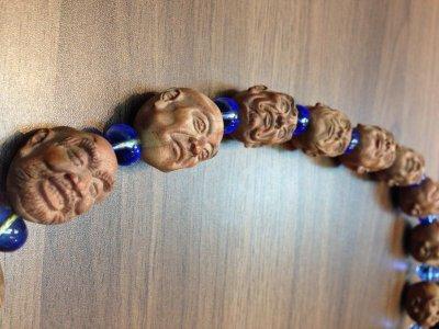 画像2: 京都・パワーストーン/【十八羅漢・四神獣・髑髏】彫刻、29mm桃の木、柘植、ブルークォーツ、水晶、京屋オリジナル房付数珠型ネックレス
