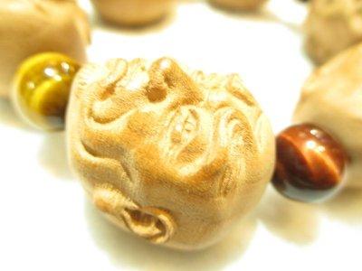 画像3: 京都・パワーストーン/【一級職人】【羅漢】彫刻桃の木超特大31mm、三色タイガーアイ(赤・青・茶)ブレスレット【伏見の京屋】