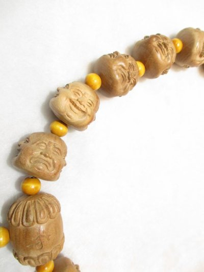 画像1: 京都・パワーストーン/【希少】【激安特価】特大42mm【喜怒哀楽】【四面顔】【布袋(ほてい)】《七福神の一柱》一級職人彫刻、桃の木房付、数珠型オリジナルネックレス【伏見の京屋】