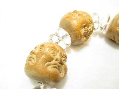 画像3: 京都・パワーストーン/【希少】【激安特価】特大25mm【喜怒哀楽】【四面顔】【布袋(ほてい)】《七福神の一柱》一級職人彫刻、桃の木、そろばん水晶ブレスレット【伏見の京屋】