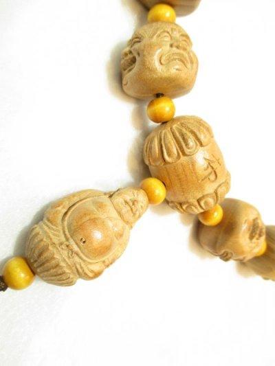 画像3: 京都・パワーストーン/【希少】【激安特価】特大42mm【喜怒哀楽】【四面顔】【布袋(ほてい)】《七福神の一柱》一級職人彫刻、桃の木房付、数珠型オリジナルネックレス【伏見の京屋】
