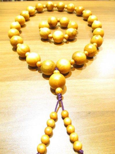 画像1: 京都・パワーストーン/【激安特価】《魔除け・長寿・平安》【天然木】【桃の木】超特大玉29mm 房付紐編み数珠型ネックレス、ブレスレットセット【伏見の京屋】
