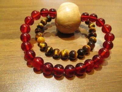 画像2: 京都・パワーストーン/【本物】《全てを好転》【ギベオン隕石】【レッドアンバー(赤琥珀)】 天然木【スカル(髑髏)彫刻桃の木】38mm、【タイガーアイ(虎目石)】ブレスレット【伏見の京屋】