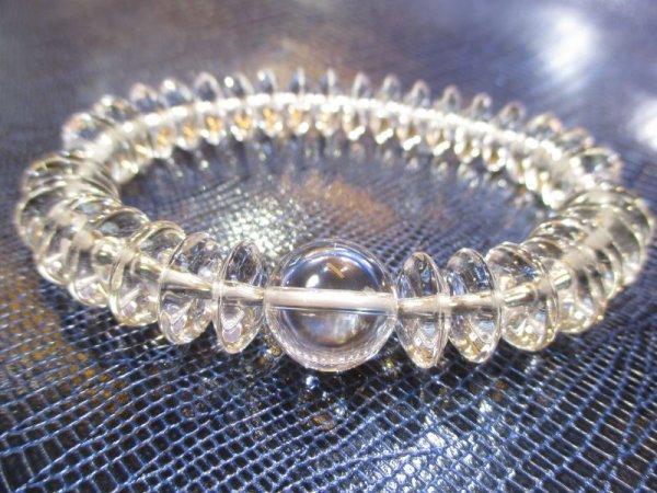 画像1: パワーストーン・京都/【最高品質5A(透明度・加工)】【そろばん珠本水晶】大玉14mm、数珠型ブレスレット【天然石の京屋】 (1)