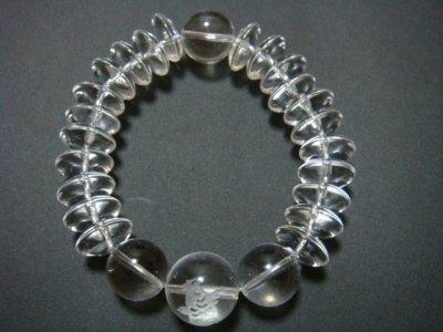 画像2: ◆気迫!そろばん型本水晶18mm玉 彫刻【昇鯉】金運上昇ブレスレット【天然石の京屋】◆
