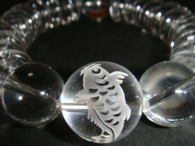 画像1: ◆気迫!そろばん型本水晶18mm玉 彫刻【昇鯉】金運上昇ブレスレット【天然石の京屋】◆