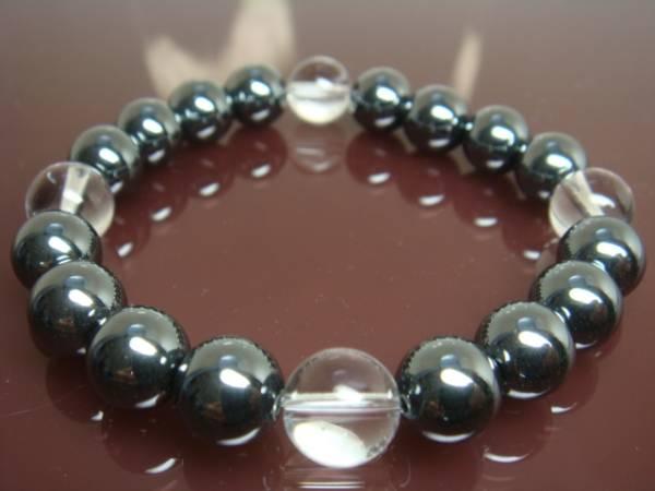 画像1: ◇AAAヘマタイト・本水晶・数珠ブレス10mm 「勝利に導く石」【天然石の京屋】◇