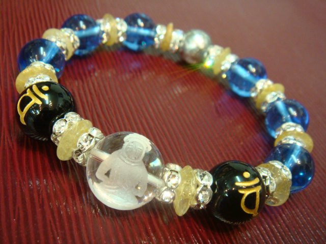画像1: 京都・パワーストーン/【大日如来】【バン】ブルー水晶・ギベオン隕石、そろばん型ルチルクォーツブレスレット【天然石の京屋】
