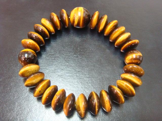 画像1: 京都・パワーストーン/金運・仕事運上昇!そろばん型タイガーアイ(虎目石)数珠型ブレスレット【天然石の京屋】