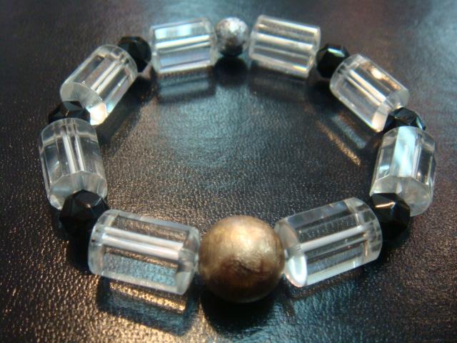 画像1: パワーストーン・京都/【レディース】ギベオン隕石、ブラックスピネル、チューブ型本水晶14mmブレスレット【天然石の京屋】