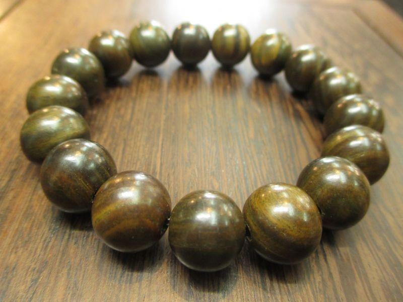 画像1: 京都・パワーストーン/【高級天然木】黒緑檀、13mm、数珠腕輪 (ブレスレット)【伏見の京屋】
