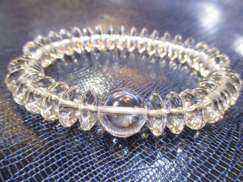 画像1: パワーストーン・京都/【最高品質5A(透明度・加工)】【そろばん珠本水晶】大玉14mm、数珠型ブレスレット【天然石の京屋】