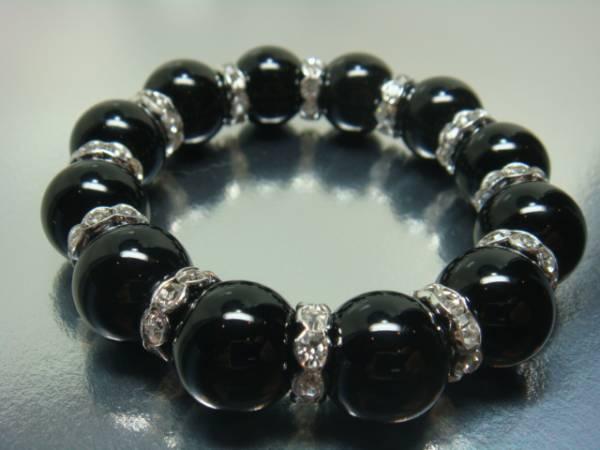 画像1: ◆男のブレス ブラックオニキス/ロンデル16mm 魅せるブレス 天然石【京屋】 ◆