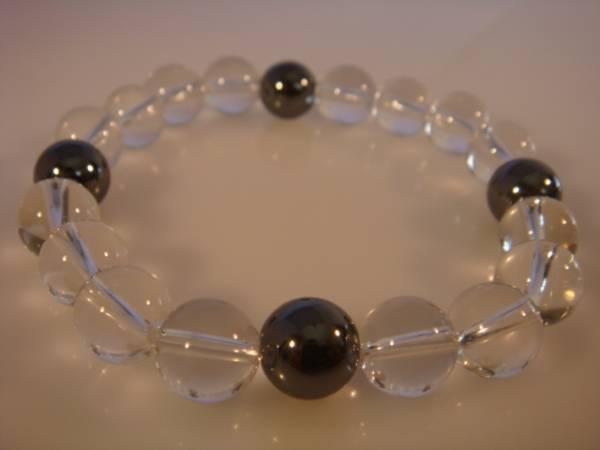 画像1: ◆◇[運気上昇]水晶 ヘマタイト天然石ブレス 10mm◇◆