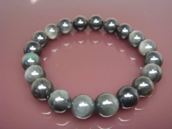 画像1: ◆◇オブシディアン10mm数珠ブレス/風水/パワーストーン◇◆