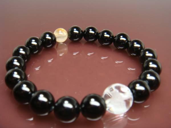画像1: ◆◇水晶彫刻【鯉】オニキス金ルチル 水晶10mm 天然石ブレス