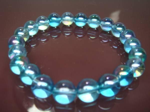 画像1: ◆◇アクアオーラブルー8mm 数珠ブレス パワーストーン ◇