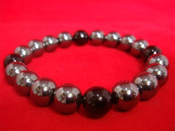 画像1: ヘマタイト 数珠ブレス 天然石 10mm オニキス