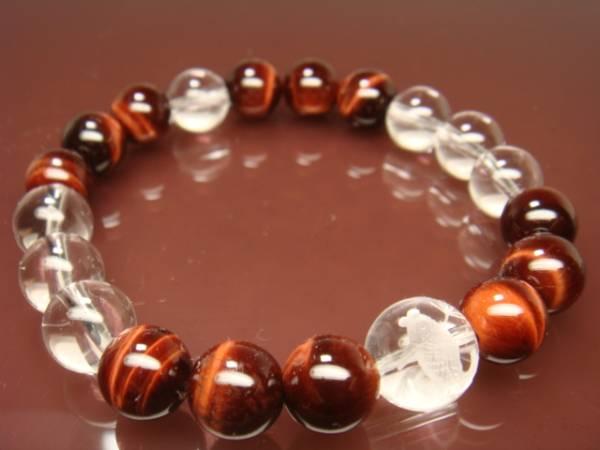 画像1: ◆◇水晶彫刻【鯉】赤虎目 水晶10mm 天然石ブレス◇◆