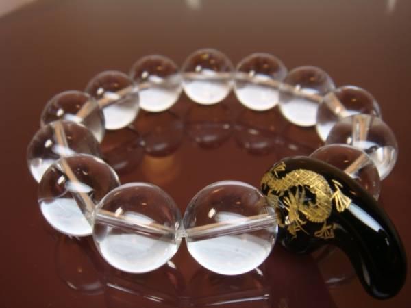 画像1: ◆◇水晶【青龍/勾玉】オニキス16mm天然石 数珠ブレス◇◆
